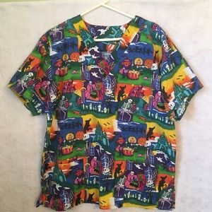 Scrub Top Halloween No Tag Maybe L See Measurement